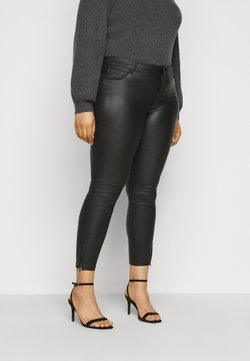 Noisy May Curve - NMKIMMY NW COATED ANKLE PANTS - Stoffhose - black