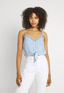 American Eagle - TIE FRONT TANK PRINT - Top - blue