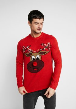 Only & Sons - ONSXMAS FUNNY BADGE - Pullover - pompeian red