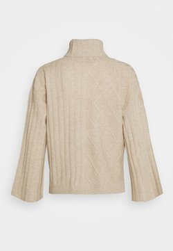 pure cashmere - PATTERNED CROP - Strickpullover - oatmeal