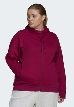 adidas Performance - AEROREADY JACQUARD FULL-ZIP LOGO HOODIE (PLUS SIZE) - Collegetakki - purple