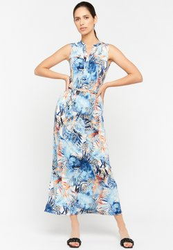 LolaLiza - FLORAL AND LEOPARD PRINT - Maxikleid - light blue