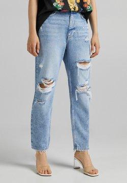 Bershka - MIT RISSEN  - Jeans Tapered Fit - blue denim