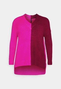 CAPSULE by Simply Be - ELEVATED ESSENTIALS VNECK - Jersey de punto - pink/red