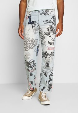 Jaded London - SCRIBBLE GRAFFITI SKATE JEANS - Jeans Relaxed Fit - blue