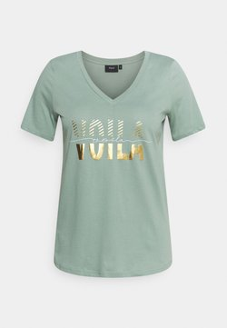 Zizzi - SHAPED TEE WITH V NECK - T-shirt imprimé - chinois green