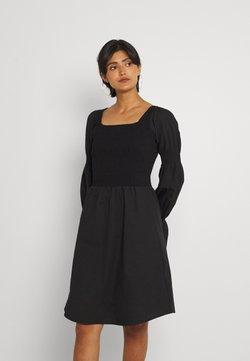 NU-IN - SHIRRED PUFF LONG SLEEVE MINI DRESS - Vapaa-ajan mekko - black