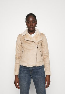 Dorothy Perkins - SHORT BIKER JACKET - Imitatieleren jas - neutral