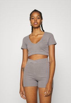 Nly by Nelly - WRAP WAIST MINI SET - Tracksuit bottoms - gray