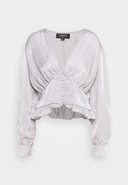 Little Mistress Tall - PUFF SLEEVE BLOUSE IN METALLIC - Blouse - silver