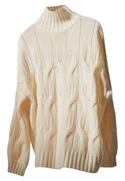 Massimo Dutti - MIT ZOPFMUSTER UND GERIPPTEM STEHKRAGEN 05612531 - Sweter - beige