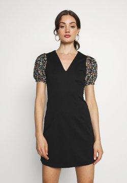 Lost Ink - JACQUARD SLEEVE DETAIL MINI DRESS - Vestido informal - black