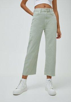 PULL&BEAR - CROPPED - Jeans Straight Leg - mottled light green