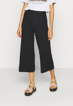 Even&Odd - Wide Cropped Pants - Kangashousut - black