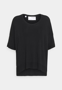 Selected Femme - SLFWILMA UNECK - T-Shirt basic - black