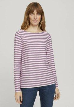 TOM TAILOR - Langarmshirt - lilac offwhite stripe