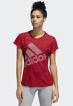 adidas Performance - BADGE OF SPORT T-SHIRT - Printtipaita - red
