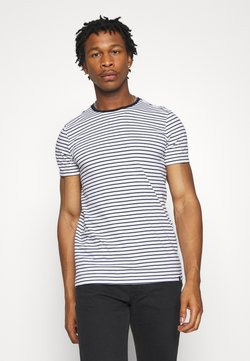 Scotch & Soda - EASY CREWNECK TEE - Print T-shirt - white/dark blue