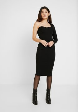 Missguided Petite - ONE SHOULDER STRUCTURED BODYCON MIDI DRESS - Cocktail dress / Party dress - black