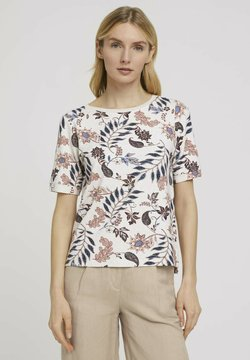 TOM TAILOR - MIT MUSTER - T-Shirt print - white floral design