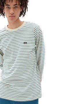 Vans - MN OFF THE WALL CLASSIC STRIPE LS - T-Shirt print - seed pearl/moroccan blue
