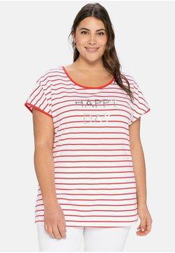 Sheego - T-Shirt print - karminrot-weiß