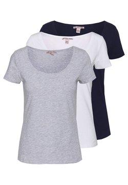 Anna Field - 3 PACK - T-Shirt basic - white/navy/light grey melange