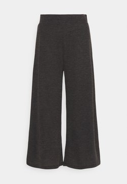 Even&Odd - WIDE LEG RIBBED TROUSERS - Trousers - mottled dark grey