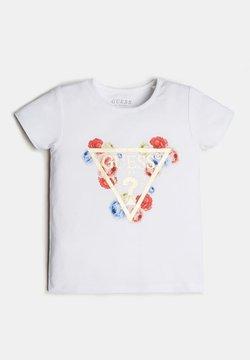Guess - LOGO TRIANGLE PAILLETTES - T-Shirt print - blanc