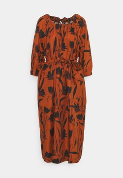 Mother of Pearl - RAGLAN SLEEVE DRESS WITH GATHERED NECK & CUFFS - Vestito estivo - botanical rust