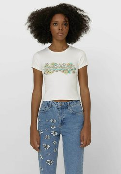 Stradivarius - T-shirt con stampa - white