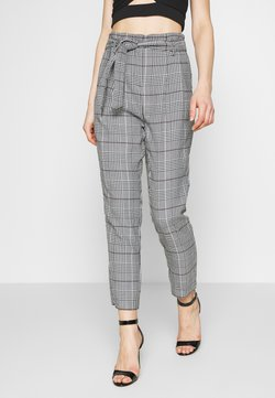 New Look - ROME CHECK PAPERBAG TROUSER - Chinot - cream