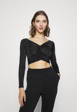 New Look - RUCHED FRONT BARDOT CROP - Pitkähihainen paita - black