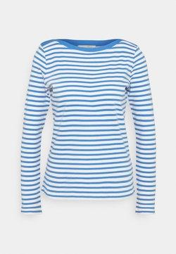 TOM TAILOR DENIM - CONTRAST NECK - Langarmshirt - mid blue/white