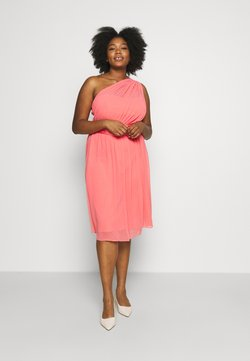Dorothy Perkins Curve - JENNI ONE SHOULDER MIDI DRESS - Vestido de cóctel - coral