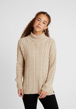 Missguided Petite - CABLE ROLL NECK JUMPER - Jersey de punto - stone