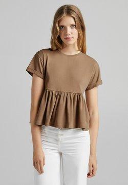 Bershka - MIT KURZEN ÄRMELN UND VOLANTS - T-shirt z nadrukiem - camel