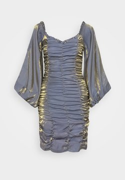 Glamorous - GATHERED MINI DRESS WITH PUFF SLEEVES AND SWEETHEART NECK - Sukienka koktajlowa - blue/gold metallic