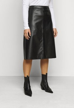 Pieces Curve - PCSURIANNA MIDI SKIRT CURVE - A-Linien-Rock - black