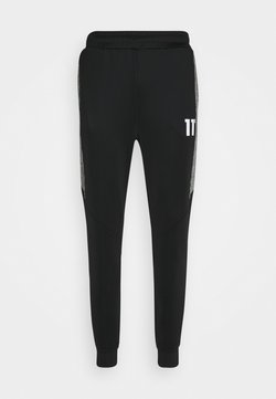 11 DEGREES - CUT AND SEW PRINCE OF WALES TRACK PANTS - Jogginghose - black / white