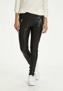 Kaffe - Pantalon en cuir - black deep / gold