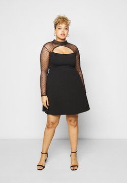 Missguided Plus - DOBBY LONG SLEEVE DRESS - Cocktail dress / Party dress - black