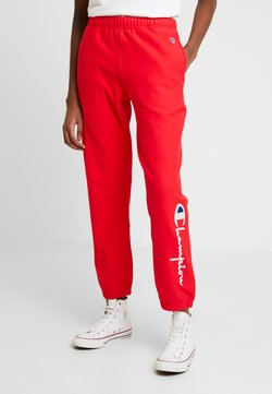 Champion Reverse Weave - BIG SCRIPT CUFF PANTS - Jogginghose - red