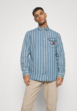 Tommy Jeans - STRIPE SHIRT - Camisa - mid indigo/white