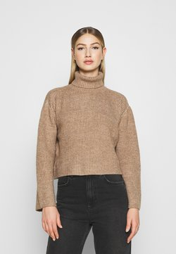 Even&Odd - CROPPED BOXY ROLL NECK - Strickpullover - mottled brown