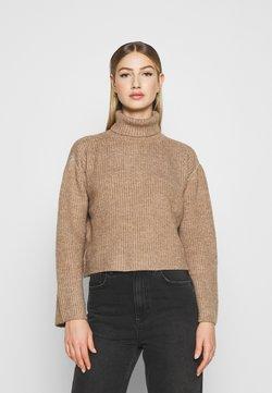 Even&Odd - CROPPED BOXY ROLL NECK - Jersey de punto - mottled brown