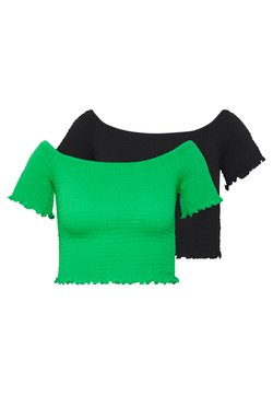 Glamorous - BARDOT 2 PACK - T-Shirt basic - black/green