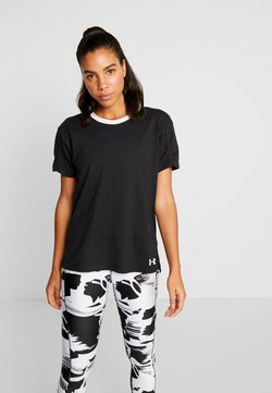 Under Armour - CHARGED  - T-Shirt print - black/white