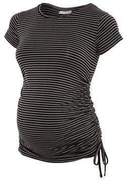 JoJo Maman Bébé - GATHERED - T-Shirt print - black grey stripe