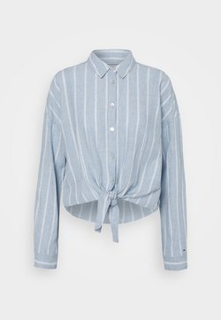 Tommy Jeans - TJW RELAXED FRONT KNOT  - Hemdbluse - moderate blue/stripe